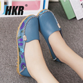 HKR 2017 spring women genuine leather ballet flats casual shoes women round toe flats slip on loafers ballerina flats 170