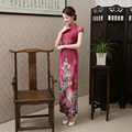 New Arrival Hot Pink Vintage Chinese Tradition Women's Silk Long Cheongsam Dress Charming Sexy Long Qipao Size S M L XL XXL  J10