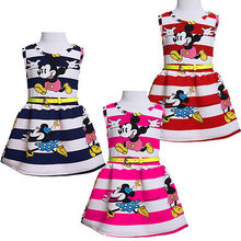 2016Kids Baby Girls Princess Party Birthday Cartoon Minne Mouse Stripe Vacation Summer Dress 2-7Y