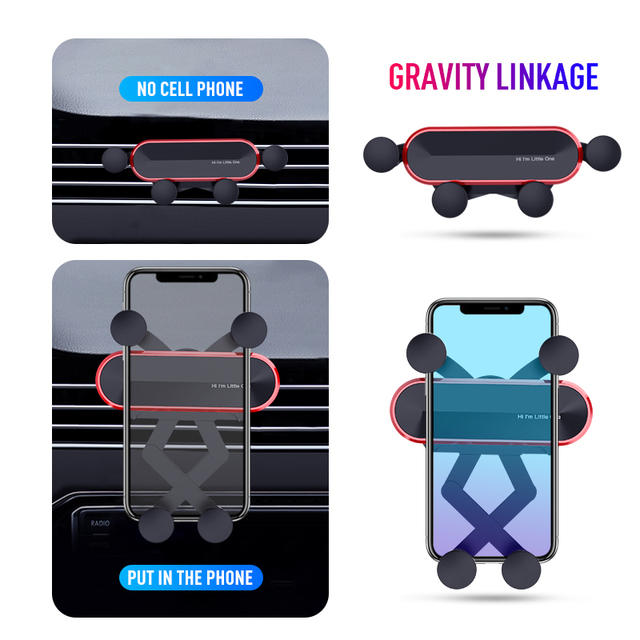 New Universal Little One Car Phone Aluminum Alloy Mini Gravity Bracket Mobile Phone Holder Cell Stand Support for IPhone XS