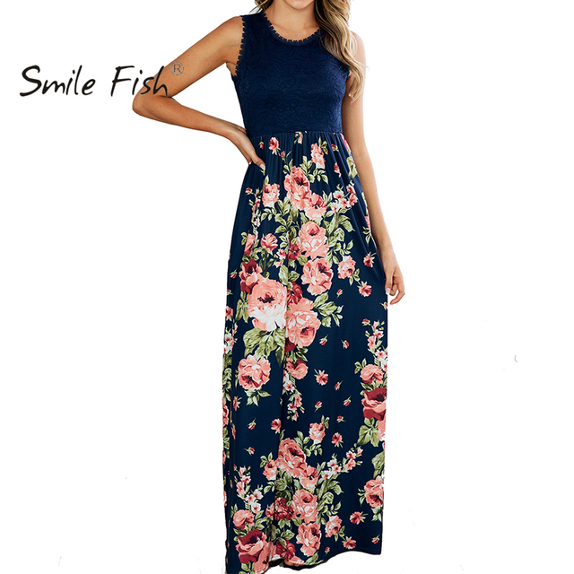 Vestido de encaje de retazos de verano de 2019, vestido largo con estampado Floral, bolsillos, cuello redondo, sin mangas, traje elegante para mujer GV506