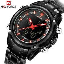 NAVIFORCE Роскошные Dual Time дисплей часы для мужчин Multi Функция кварцевые часы модные повседневное бизнес человек Relogio Masculino