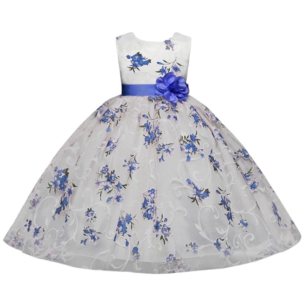 Длина колено печатные цветок девочки платья 2019 розовым поясом Причастие платья без рукавов Pageant платья для девочек