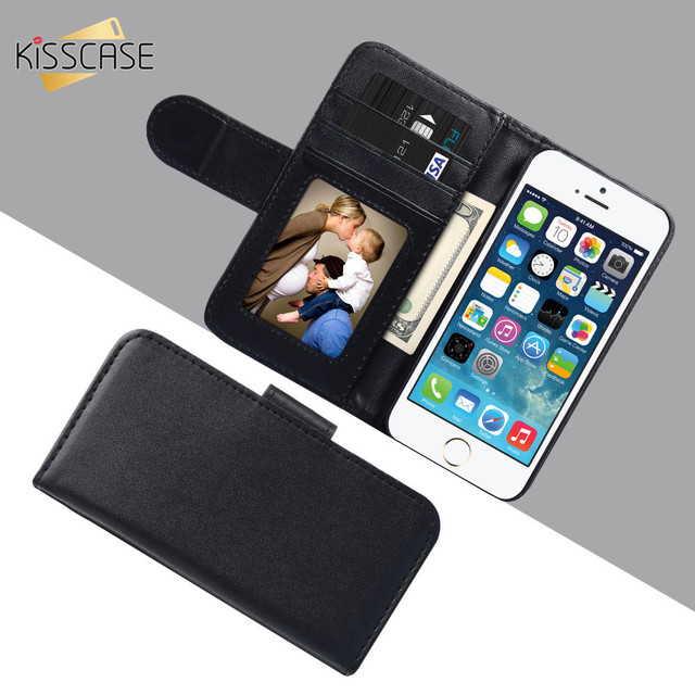 KISSCASE For Apple iPhone 7 6s 7 Plus 5S SE Case 5C 4S Leather Cases Photo Frame Wallet Stand Cover For Samsung  S7 s6 Edge S5