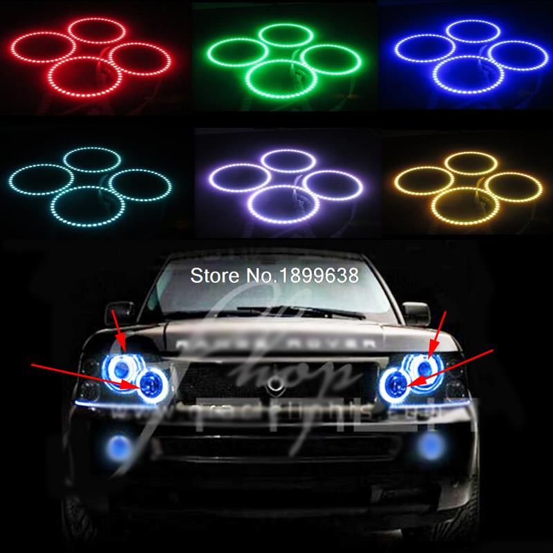 Super bright 7 color RGB LED Angel Eyes Kit with a remote control car styling For Land Rover Range Rover L322 Sport 2002-2009 2pcs super bright rgb led headlight halo angel demon eyes kit with a remote control car styling for ford mustang 2010 2012