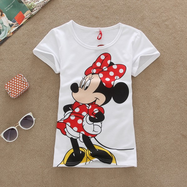 New Mouse DUCK Printed T Shirt  Women Slim Fits T Shirts Girl School Cotton Shirts  Mouse