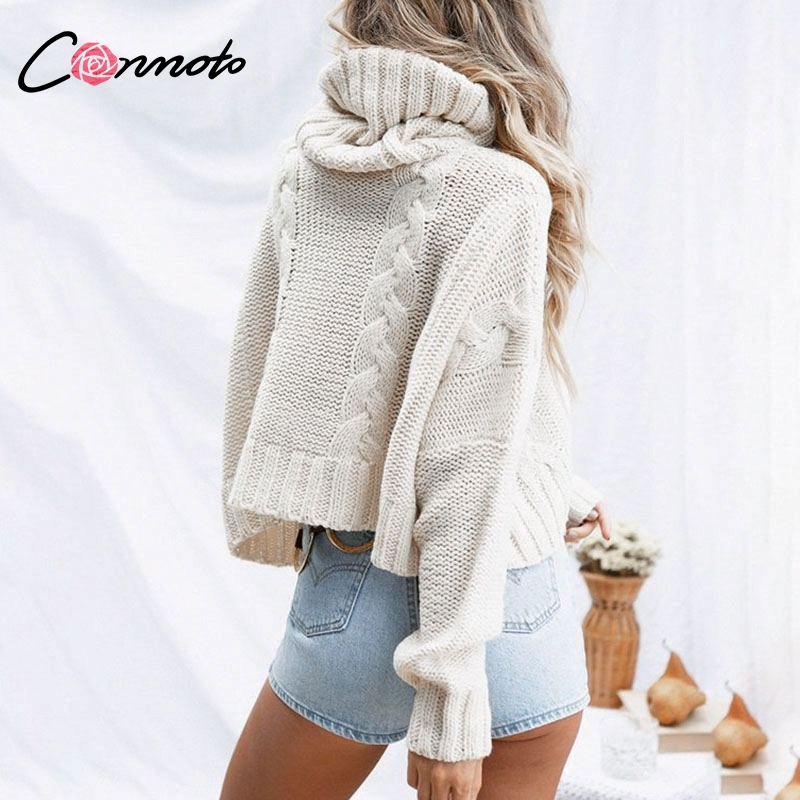 Image 4 - Conmoto Harajuku Turtleneck Crop Sweater 2018 Autumn Winter Long  Sleeve Thick Solid Oversized Pullover White Kintted JumperPullovers