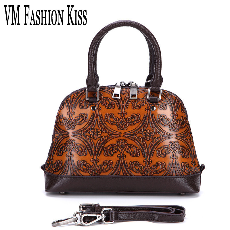 VM FASHION KISS Women Retro Genuine Leather Shell Bag Female 2017 Messenger Bags Small Floral Printing Handbag Vintage Bolsos 2017 fashion all match retro split leather women bag top grade small shoulder bags multilayer mini chain women messenger bags