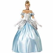 VASHEJIANG Deluxe Kigurumi синий принцесса взрослых платье Золушки для принцесс на вечеринку в честь Хэллоуина Костюм принцессы форма