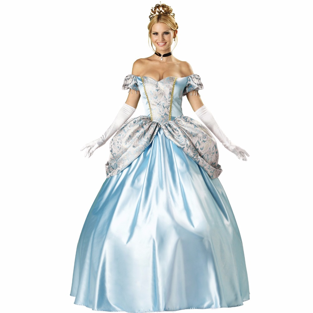 VASHEJIANG Deluxe Kigurumi Blue Princess Adult Cinderella Princess Dress Halloween Party Princess Costume Uniform