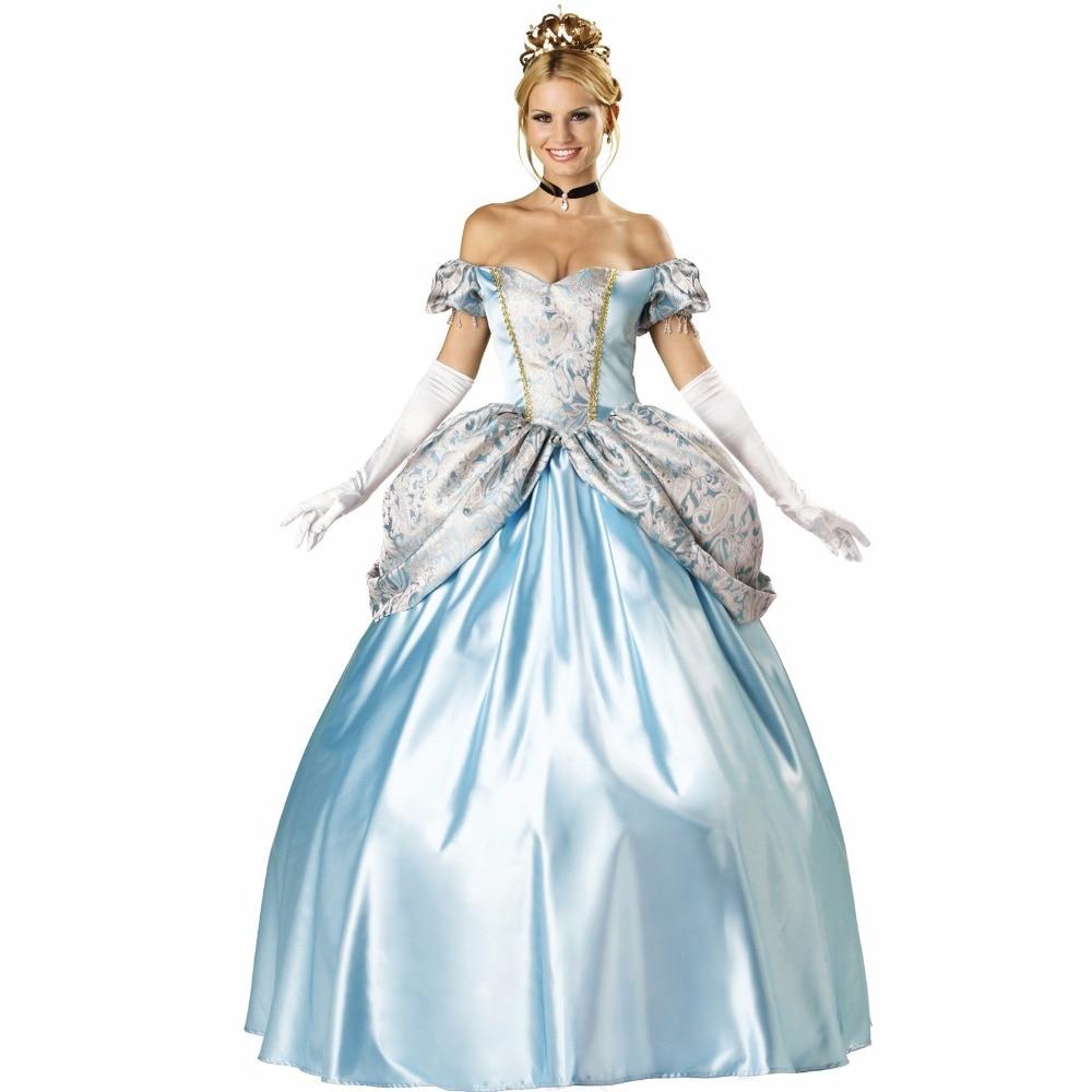 VASHEJIANG Deluxe Kigurumi Blue Princess Adult Cinderella Princess Dress Halloween Party Princess Costume Uniform