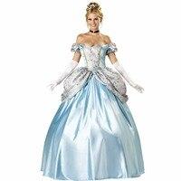 VASHEJIANG Kigurumi Adult womens Blue Halloween Party Princess Costume Adult Cinderella Cosplay Dress Deluxe Snow White Costume