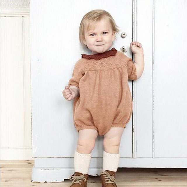 2016 Autumn Baby Bodysuit Knitted Baby Girl Sweater Body Suits Kids Jumpsuit Infant Clothes Winter Todder Girl Bodysuit