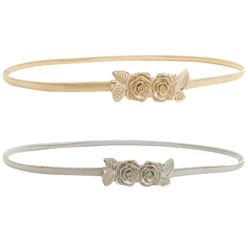 79f83bed1 Seabigtoo Roses metal belts for women elastic belts female gold silver waist  chain thin belts high