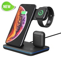 Universal 15W Qi Wireless Charger For Iphone X 8 Xiaomi Quick Charge 3.0 Fast Charger Dock Stand For Apple Airpods Watch 4 3 2 1
