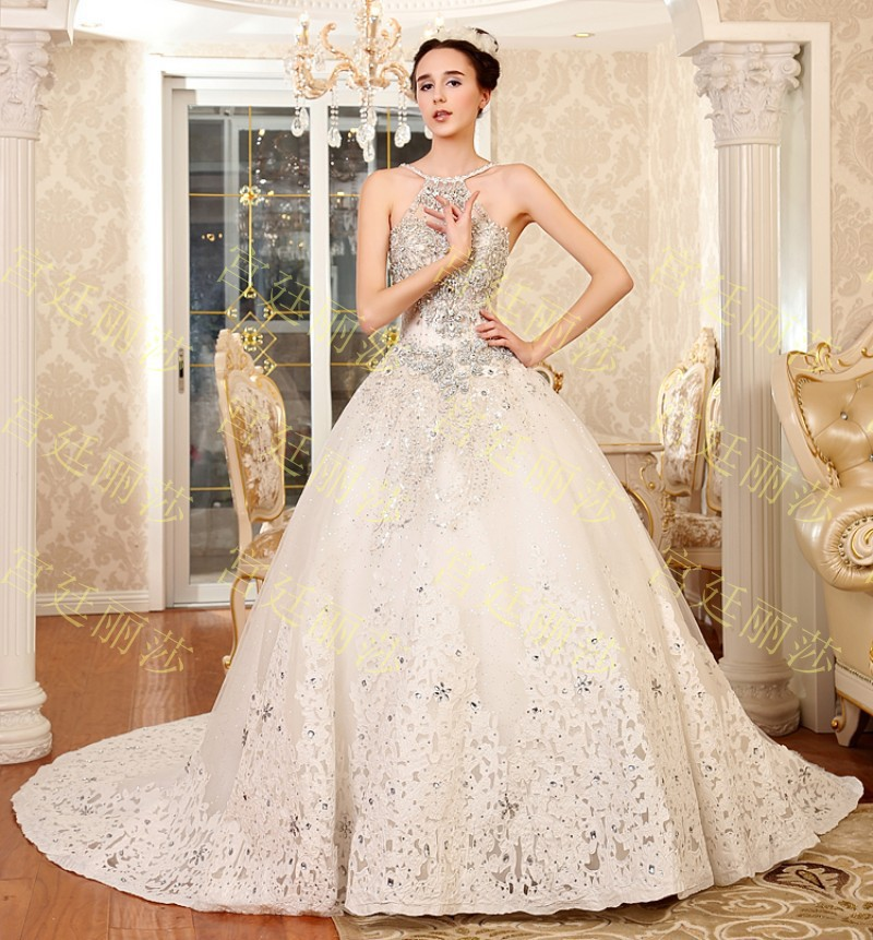 652014 Luxurious crystal halter Wedding dress beads sequin lace up ...