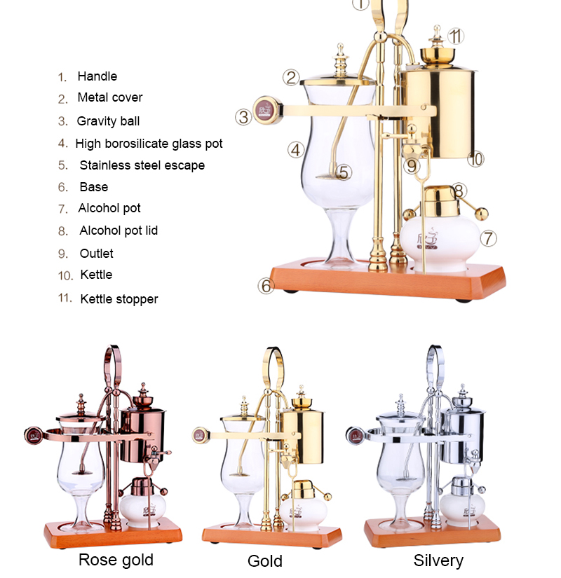 New design water drop Royal balancing siphon coffee machine/belgium coffee maker syphon vacumm coffee brewer-in Coffee Makers from Home Appliances    3