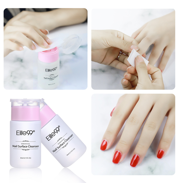 Elite99 80ml Nail Surface Cleanser Nail Polish UV Gel Sticky Remover Liquid Enhance Shine Effect Cleanser Nail Art Remover Tool