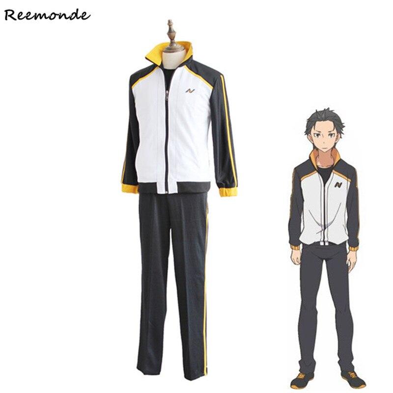 Re Zero kara Hajimeru Isekai Seikatsu Cosplay Costume Subaru Natsuki Sport Suit Full Set Synthetic Wigs Men Boys School Uniform