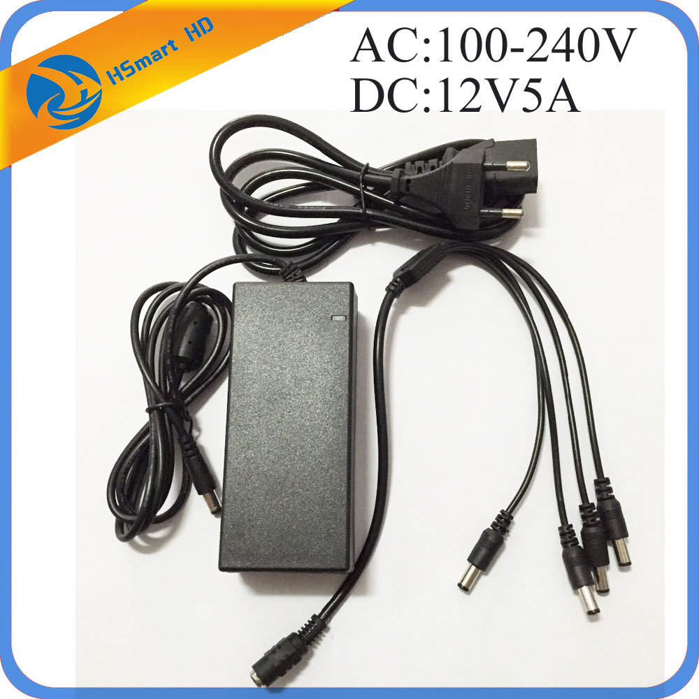 DC 12V 5A Power Supply Adapter + 4 Split Power Cable for CCTV Security Camera DVR Analog AHD TVI CVI camera DVR Systems 4ch 12v 5a power cctv supply box for camera 4 port dc pigtail coat dc adapter