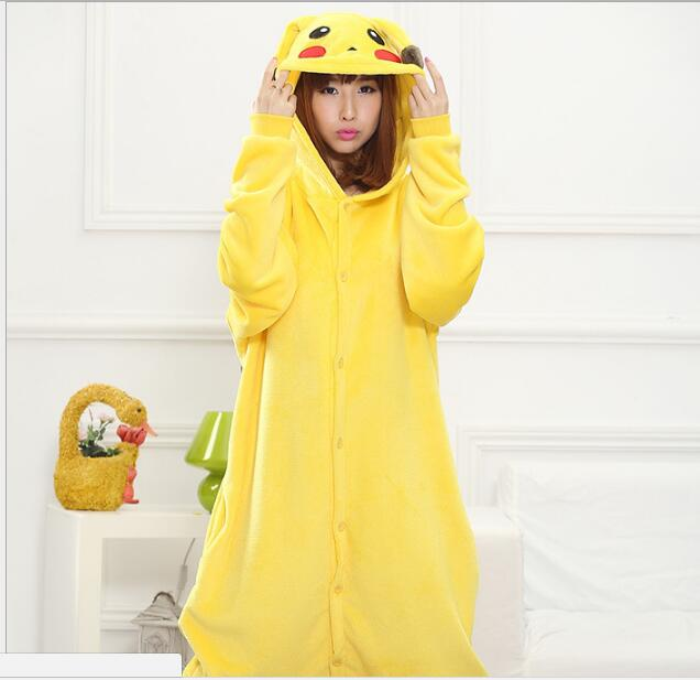 Yellow Unisex Pikachu Onesie Cosplay Costume Pikachu Pajamas Pokemon Pikachu Cosplay Animal Hoodie Sleepwear Pajamas