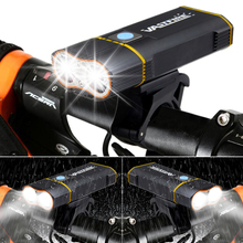 цена на Front Bike Headlight 2X XM-L2 LED Light USB Rechargeable Built-in 6000mAh Battery Bicycle Lights with USB Line for Cycling