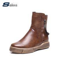 High Boots Women Vintage Brand Design Retro Combat Boots Fashion High Quality Shoes A892