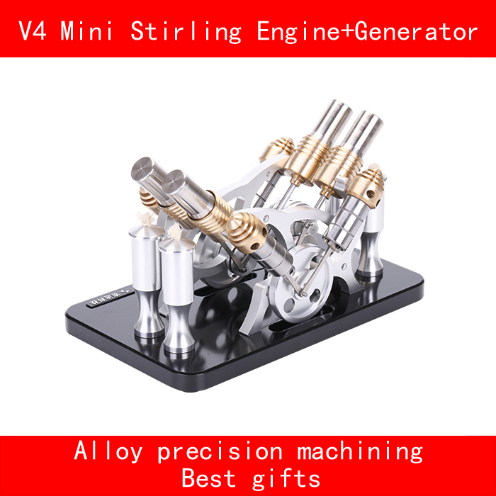 V4 cylinder stainless steel aluminium alloy precision machining mini stirling engine+generator with LED best gifts