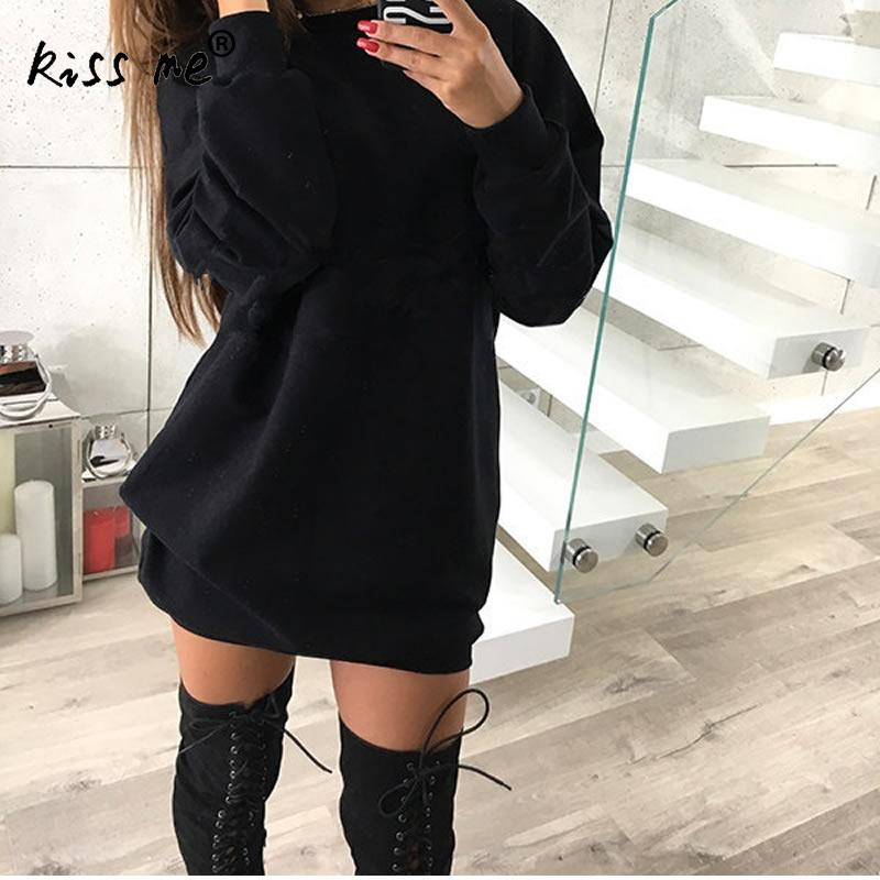 Осенние женские Повседневное Толстовка платье женский свитер с длинными рукавами пуловер Джемпер платье vestidos femininos Свободные Твердые