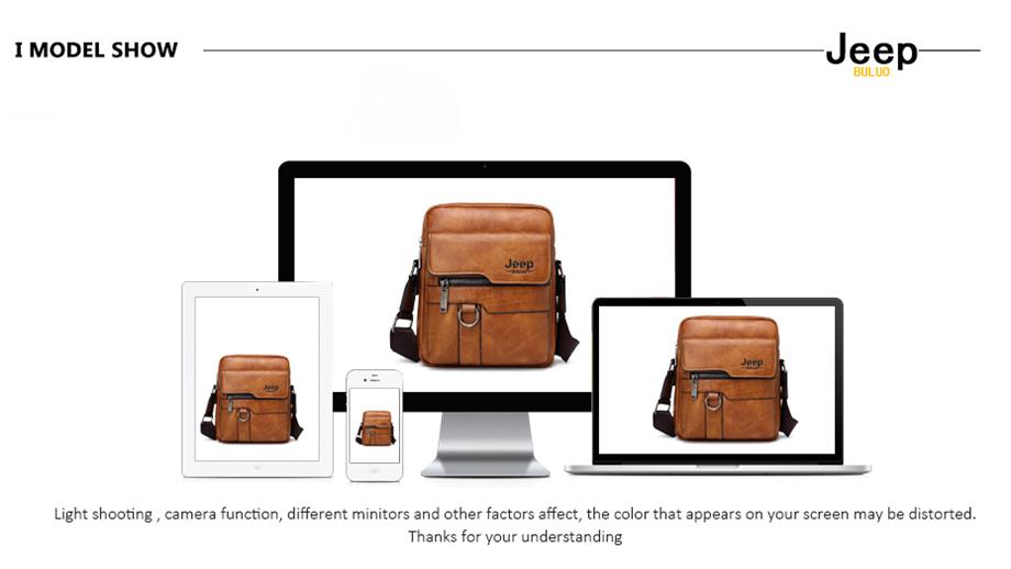 JEEP BULUO Luxury Brand Men Messenger Bags Crossbody Business Casual Handbag Male Spliter Leather Shoulder Bag Large Capacity 26