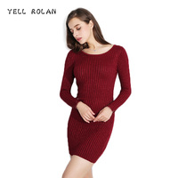 YELL ROLAN Autumn Winter Elastic Stripes Womens Sweater Dress O Collar Firm Solid Color Elegant Chic Sexy Long Sleeve Warm Dress