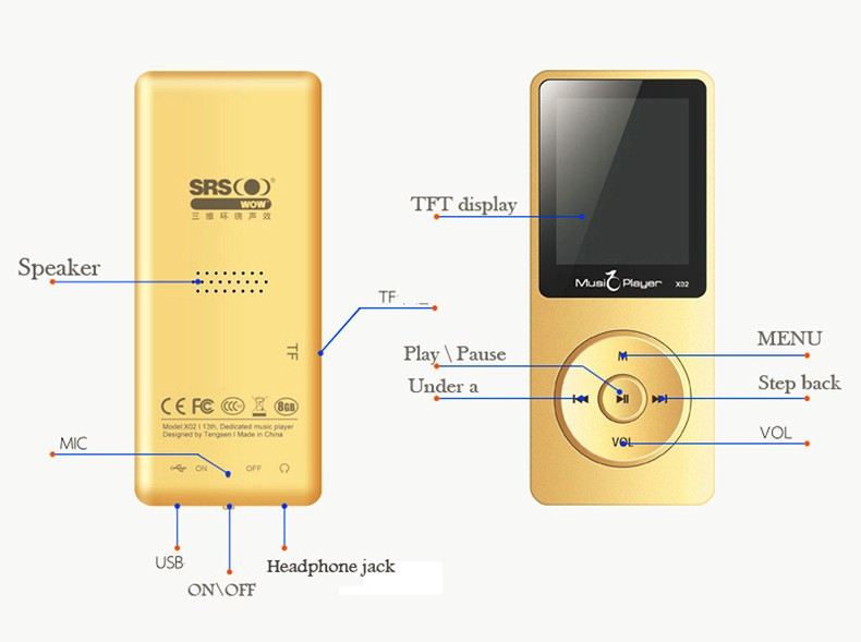 IQQ X02 8GB MP3 Music Player 1.8 Inch Screen 30h lossless sound, Support up to 64GB Micro SD Card Gold Built in Speaker FM Ebook (6)
