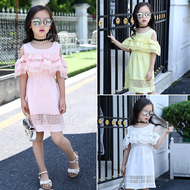 Kids Girls' Dress with Lace Summer 2018 New Kids Clothes for Girls Clothes Cotton Off Shoulder Dress White Pink Yellow Vestido 10