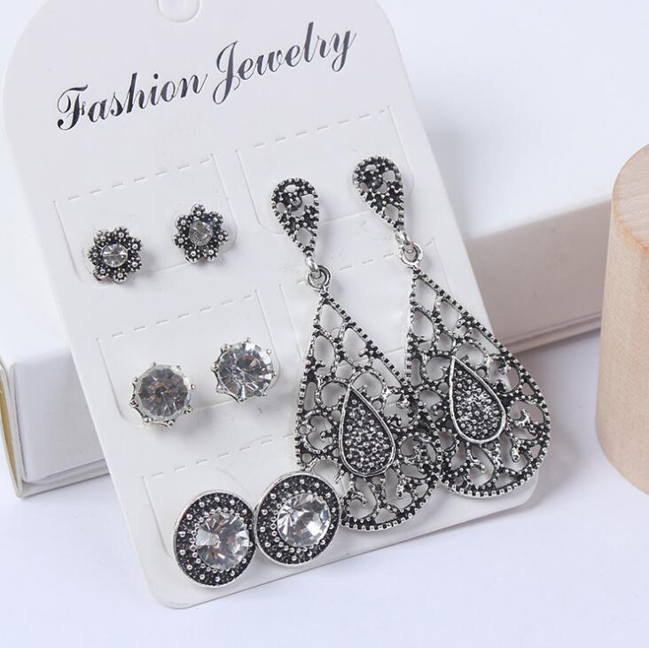 Poem snow Fashion accessories for retro and exaggerated ear nail and Earring multi piece combination suit