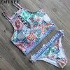 ZMTREE 2017 Newest Bandage Floral Print Bikinis Women High Neck Swimwear Back Cross Swimsuit Girls Biquinis