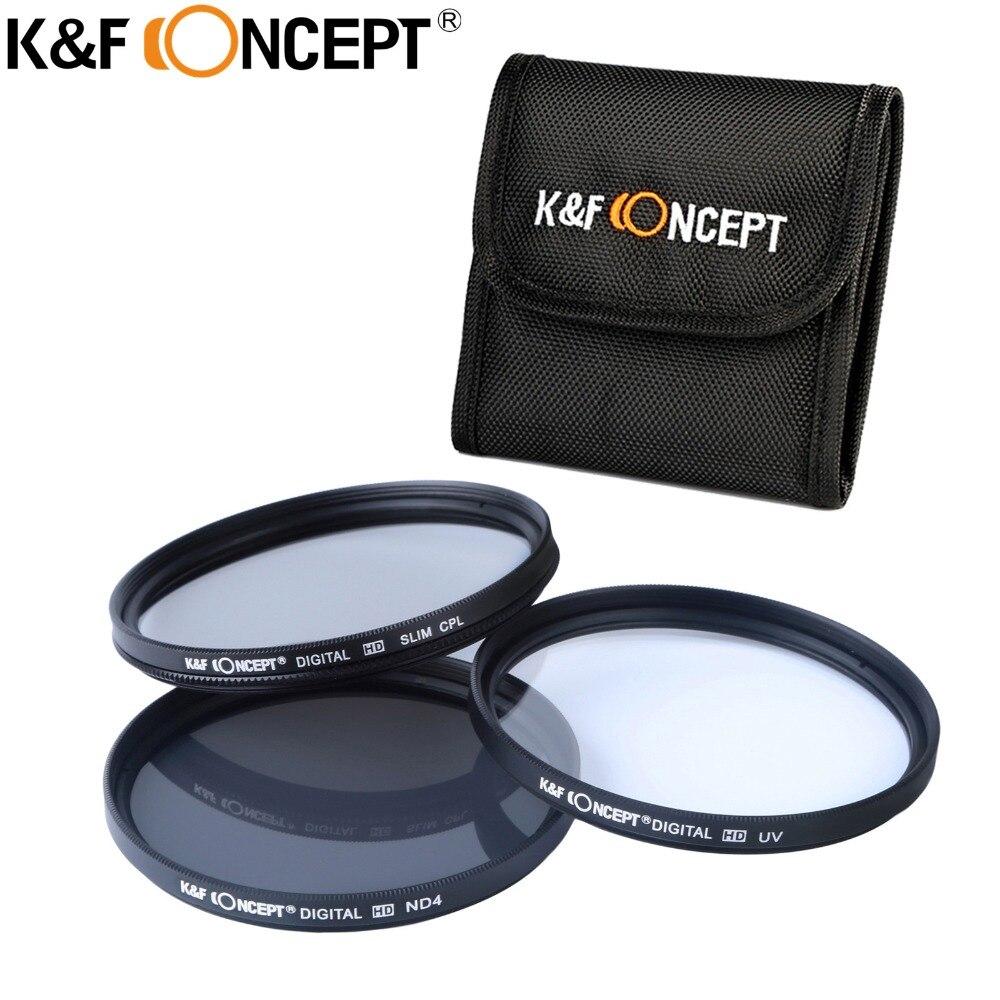Prix pour K & F Concept 52mm CPL Polariseur UV ND4 Filtre Kit Pour Canon Sony Camera Lens Filtre pour Nikon D5300 D5200 D5100 D3300 D3200 D3100