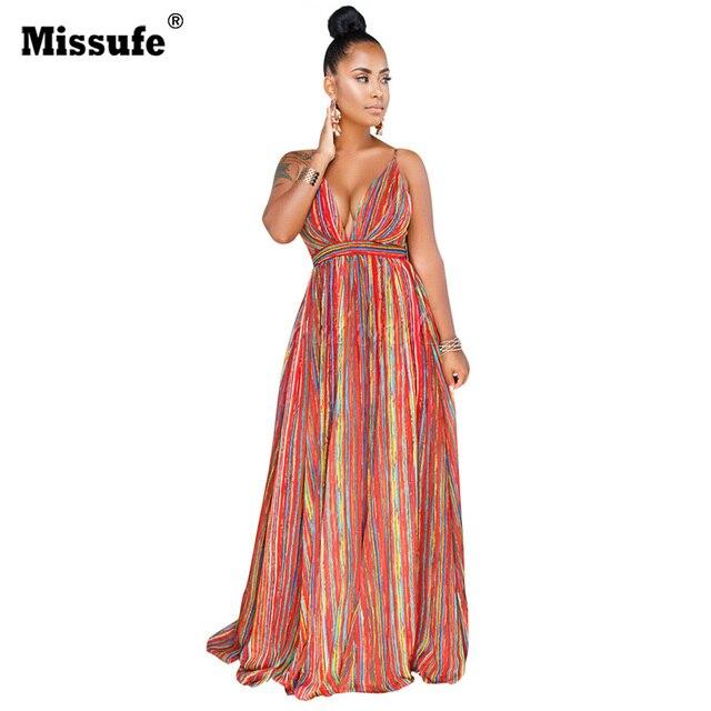 Missufe Sexy Deep V Neck Sleeveless Backless Chiffon Maxi Dress Printed  Tunic Cross Vestidos Vintage Party b567c1bc4