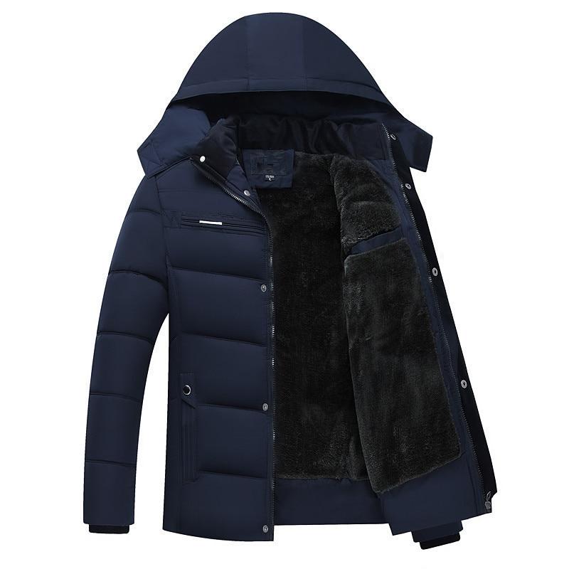 2018 New Men's Thick Warm Winter Fleece Jacket Coat Cotton Padded Man Casual Outwear Down   Parkas   Windbreaks Hat Detachable 5XL