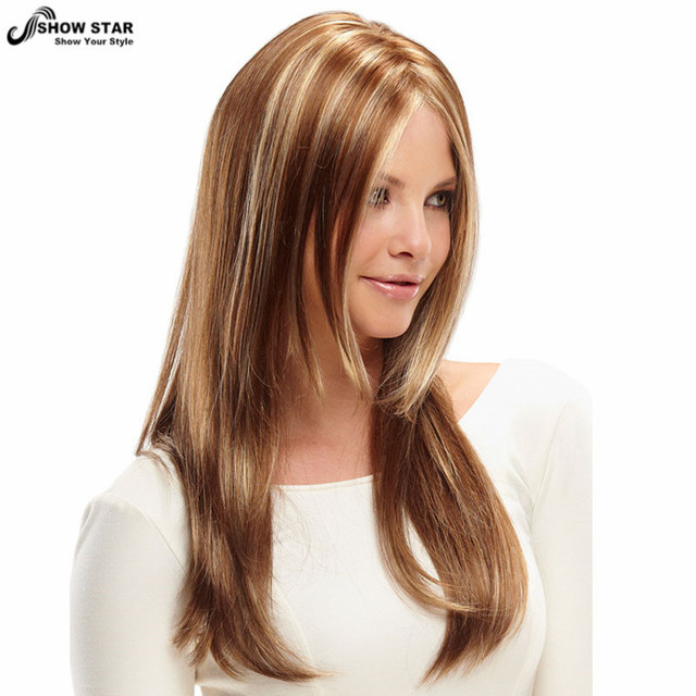 Women Brown Blonde Layered Wig Long Straight Synthetic Wigs