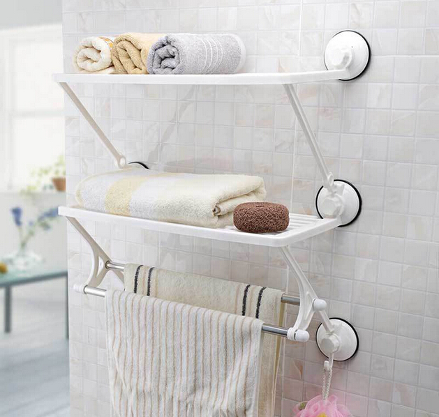47CM Strong Sucker Wall Mounted Double Layer Towel Rack Shelves ...