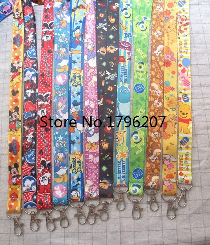 10pcs/20pcs/30pcs/50pcs  Mickey Minnie Donald Duck Daisy Neck Strap Lanyard Mobile Phone Key Chain ID Badge Key Chains K11