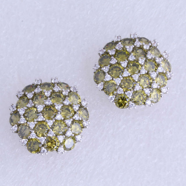 Top Quality Green Create Peridot & White Cubic Zirconia Snowflake Silver Plated Big Stud Earrings for Women J0122