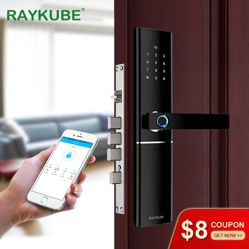 RAYKUBE FPC Fingerprint Smart Door Lock Intelligent Electronic Lock Fingerprint Verification With Password Card APP Unlock R-FK1
