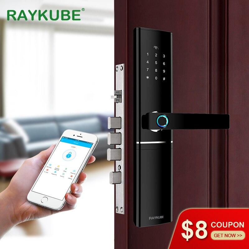 RAYKUBE FPC Impressão Digital Fechadura Da Porta Inteligente Cartão de Verificação Da Impressão Digital Com Senha de Bloqueio Eletrônico Inteligente APP Desbloquear R-FK1