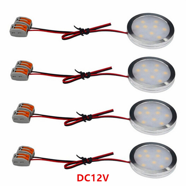 Us 27 16 6 Off Aliexpress 12v Under Cabinet Led Lighting Slim Aluminum 2w 30cm Direct Wired Round Shape Puck Lights For Kitchen Counter
