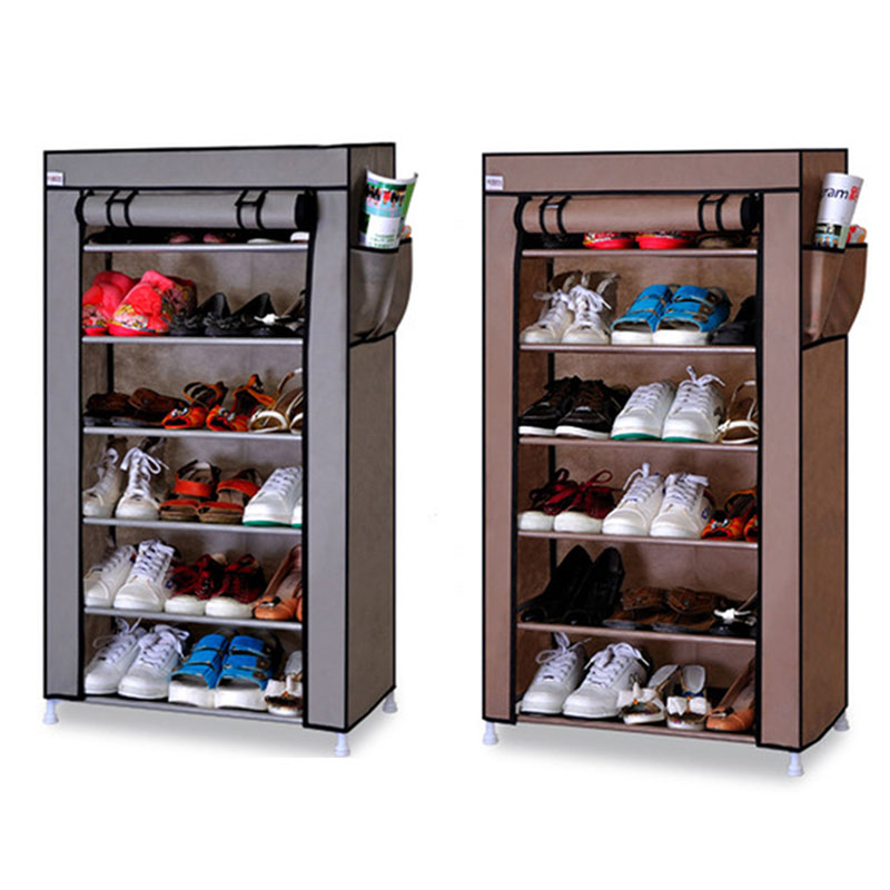 Seven Layers Six Grid Thick Non-woven Simple Shoe Cabinet Dustproof Creative DIY Assembly Storage Shoe Rack Shoe Organizer Shelf shoe rack nonwovens steel pipe 4 layers shoe cabinet easy assembled shelf storage organizer stand holder living room furniture