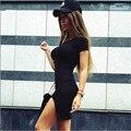 2016 sexy dividida mujer bodycon dress vaina sólido básica del o-cuello de manga corta de verano mujer dress paquete hip pencil dress