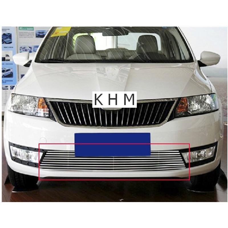 High quality Aluminium alloy  Front Grille Around Trim Racing Grills Trim For 2013 Skoda Rapid abs chrome front grille around trim racing grills trim for 2013 hyundai santa fe ix45