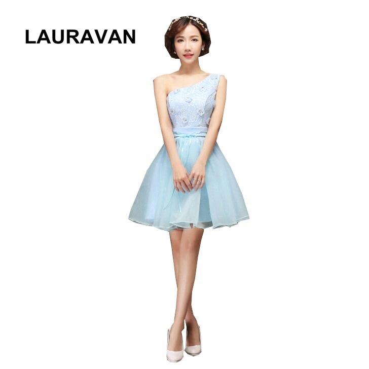 beautiful short   bridesmaids     dresses   bridal light sky blue elegant cute flowers   dress   one shoulder ball gown wedding party