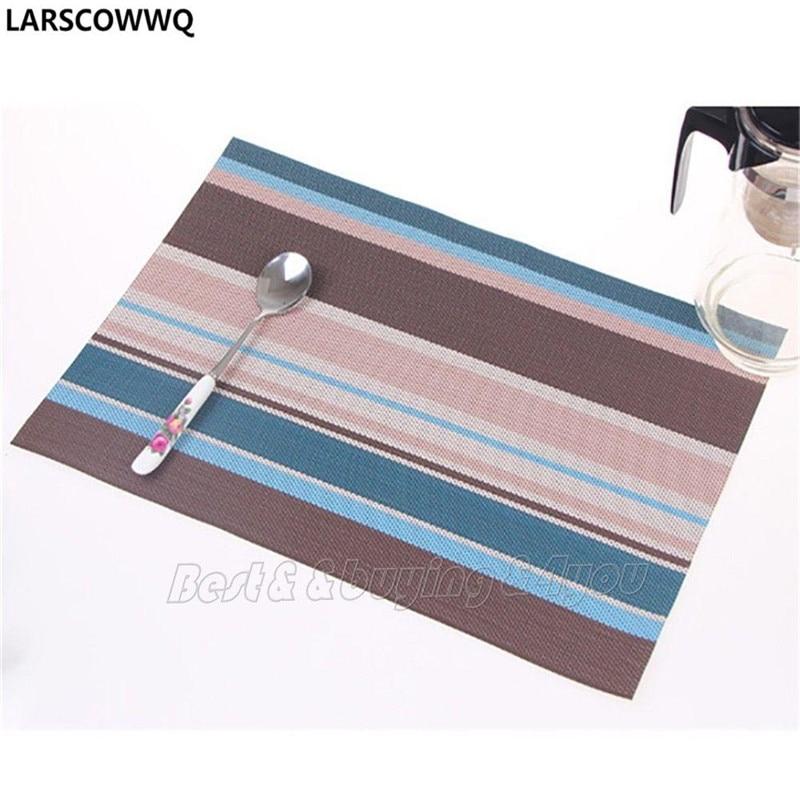 LARSCOWWQ 4x Retro Table Mat Pad PVC Dinnerware Placemat Insulation Kitchen Restaurant
